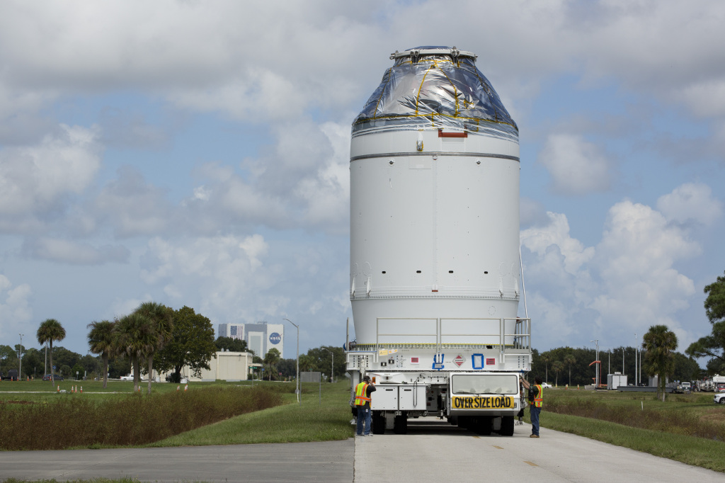 On Sunday, September 27, 2014 the Orion spacecraft was transported from the Payload Hazardous Servicing Facility to the Launch Abort System Facility at Kennedy Space Center in Florida. Image Credit: Lockheed Martin