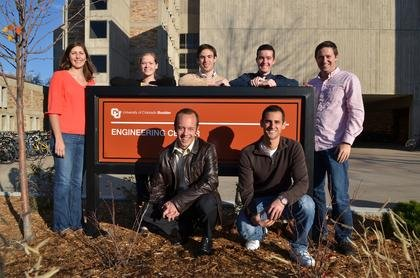 "Seven CU-Boulder aerospace engineering sciences students were selected to receive Aviation Week's national ""Twenty20s"" award, which recognizes 20 of tomorrow's engineering leaders. Back row, from left to right: Kirstyn Johnson, Erin Griggs, Dan Lubey, Paul Anderson, and Brad Cheetham. Front row, from left to right: Mike Lotto and Jake Gamsky. (Photo by Casey A. Cass/University of Colorado) width="