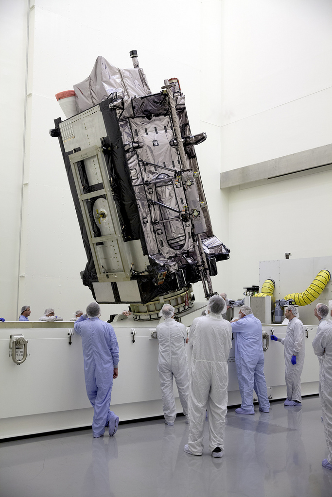 Lockheed Martin's GPS III Non-Flight Satellite Testbed (GNST), a full-sized, functional GPS III satellite prototype, now at Cape Canaveral Air Force Station (CCAFS), Florida. Image Credit: Lockheed Martin