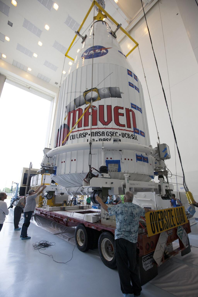 MAVEN loaded at Kennedy Space Center for transport to CCAFS Complex 41 Vertical Integration Facility. Image Credit: NASA