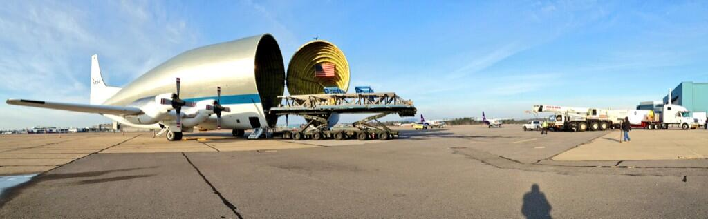 The Super Guppy is open and ready for the Orion heat shield to be loaded before it's journey to Kennedy Space Center. Image Credit: Textron Systems