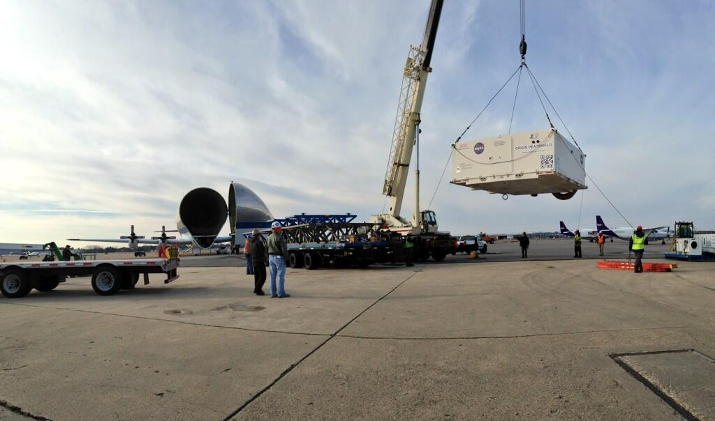 Moving the NASA Orion heat shield. Image Credit: Textron Systems