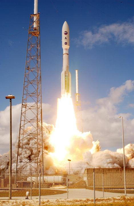 New Horizons launched aboard an Atlas V rocket from Cape Canaveral Air Force Station, Florida, on January 19, 2006. Image Source: JHU/APL