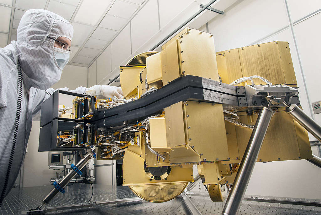 The Near-Infrared Camera for NASA's James Webb Space Telewcope is seen in a cleanroom at the Lockheed Martin Advanced Technology Center in Palo Alto, Calif., where it was designed and built. Image Credit: Lockheed Martin