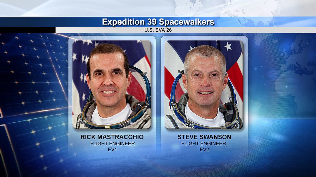 NASA spacewalkers Rock Mastracchio and Steve Swanson Image Credit: NASA TV