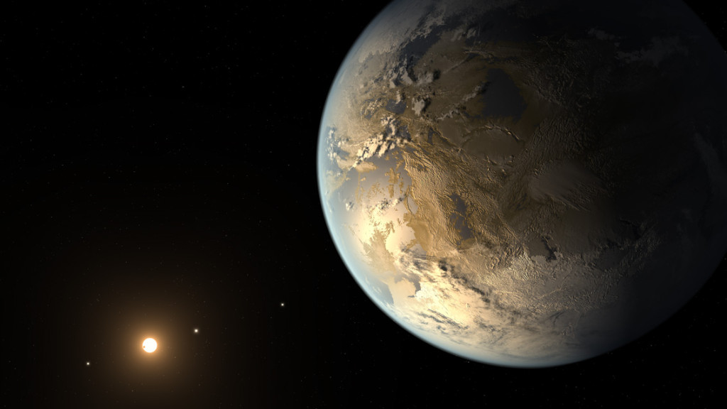 Kepler-186f resides in the Kepler-186 system about 500 light-years from Earth in the constellation Cygnus. The system is also home to four inner planets, seen lined up in orbit around a host star that is half the size and mass of the sun. Image Credit: NASA Ames/SETI Institute/JPL-Caltech