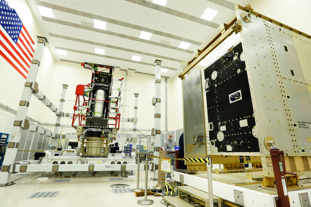The GOES-R System Module and Propulsion Module in the SSN cleanroom at Lockheed Martin near Denver. Image Credit: Lockheed Martin