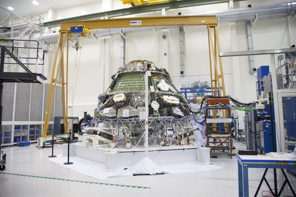 The Orion crew module undergoes Multi-Point Random Vibration Testing at Kennedy Space Center in Florida. Image Source: NASA/Daniel Casper