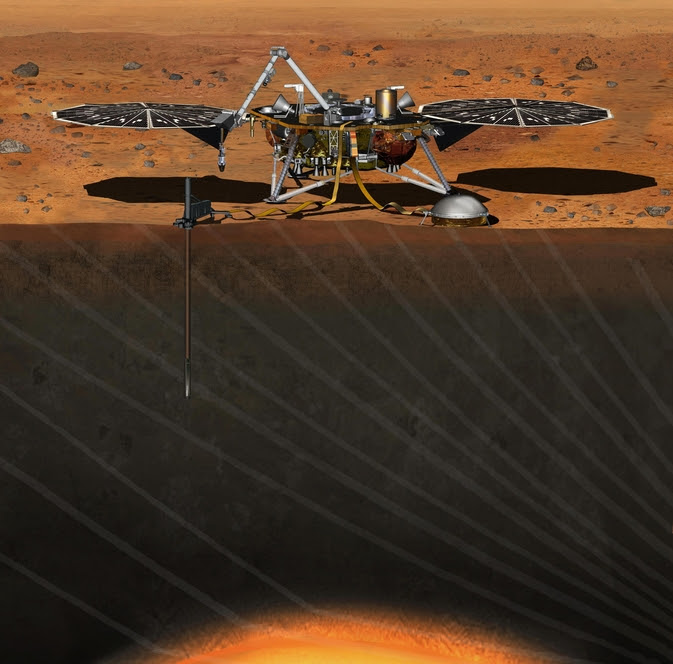 The InSight mission will land on Mars September 2016. The stationary lander's robotic arm will burrow through the Martian surface to investigate the planet's interior. Image Source: NASA/JPL