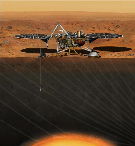 This artist's concept from August 2015 depicts NASA's InSight Mars lander fully deployed for studying the deep interior of Mars. The mission will launch during the period March 4 to March 30, 2016, and land on Mars Sept. 28, 2016. Credit: NASA/JPL-Caltech