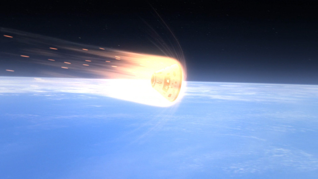 This computer-generated art depicts Orion's heat shield protecting the crew module as it enters the Earth's atmosphere. Image Credit: NASA