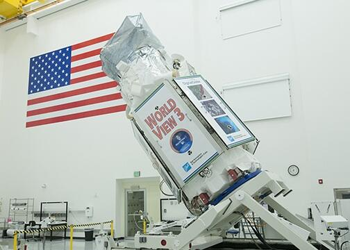 The WorldView-3 remote sensing satellite built by Ball Aerospace for DigitalGlobe. Image Source: Ball Aerospace