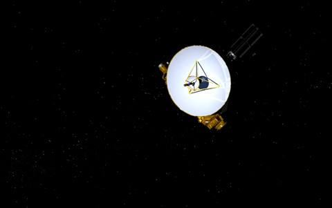 Artist's impression of New Horizons in the void of space, with its high-gain dish antenna pointed toward Earth. Image Credit: NASA/JHUAPL/SwRI