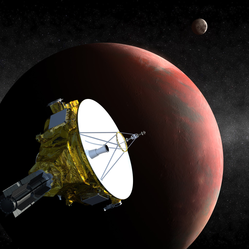 Artist's concept of the New Horizons spacecraft as it approaches Pluto and its largest moon, Charon, in July 2015. Image Credit: Johns Hopkins University Applied Physics Laboratory/Southwest Research Institute (JHUAPL/SwRI)