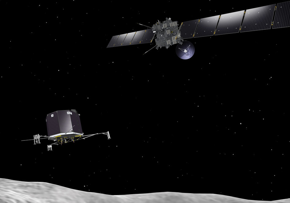 Artist's impression of the Rosetta orbiter deploying the Philae lander to comet 67P/Churyumov–Gerasimenko. After an extensive mapping phase by the orbiter in August–September 2014, a landing site will be selected for Philae to conduct in situ measurements in November 2014. Credits: ESA–J. Huart, 2013