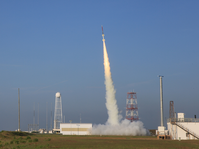 The sounding rocket carrying the RockOn student-built payloads launches from the Wallops Flight Facility. Image Credit: NASA/G. Qian
