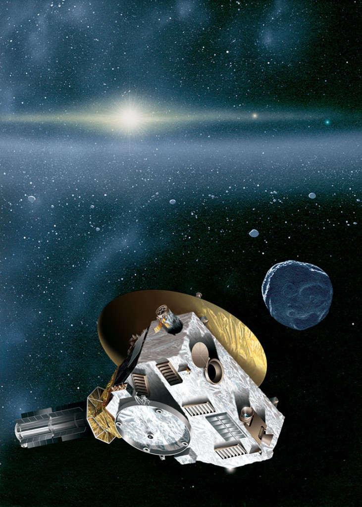 "This is an artist's rendering of the New Horizons spacecraft encountering a Kuiper Belt object — a city-sized icy relic left over from the birth of our solar system. The sun, more than 4.1 billion miles (6.7 billion kilometers) away, shines as a bright star embedded in the glow of the zodiacal dust cloud. Jupiter and Neptune are visible as orange and blue ""stars"" to the right of the sun. Image Credit: JHUAPL/SwRI"