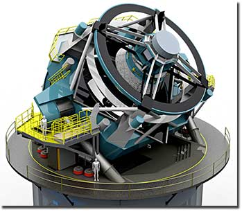 A 2010 rendering of the LSST, a proposed 8.4-meter ground-based telescope that will survey the entire visible sky in multiple colors  from a mountaintop in Chile. Photo courtesy of LSST Corp./NOAO