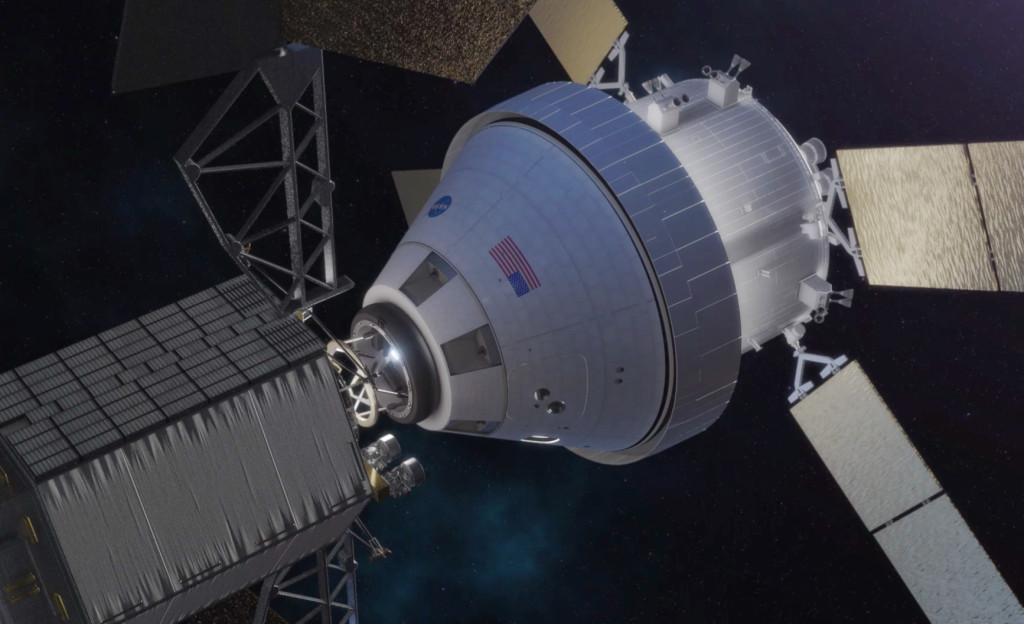 In this concept image, the Orion spacecraft docks with the robotic asteroid redirect vehicle. Image Source: NASA