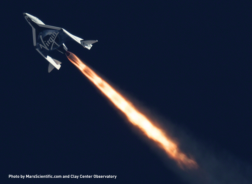 Telescopic image of Virgin Galactic's SpaceShipTwo during a supersonic test flight in 2013. Image Source: Mars Scientific/Clay Center Observatory
