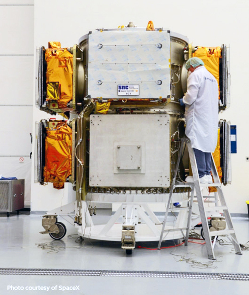 A Technician Completes Pre-Launch Inspection of SNC's Six ORBCOMM Generation 2 Spacecraft. Image Source: Sierra Nevada Corporation