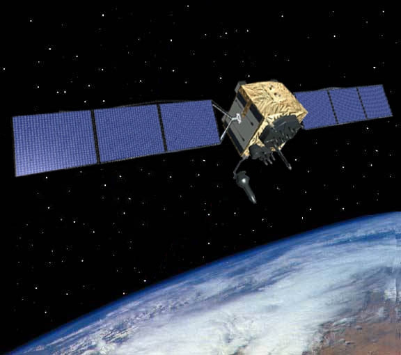 An artist's rendering of a GPS Block IIF satellite on orbit. Image Source: U.S. Air Force