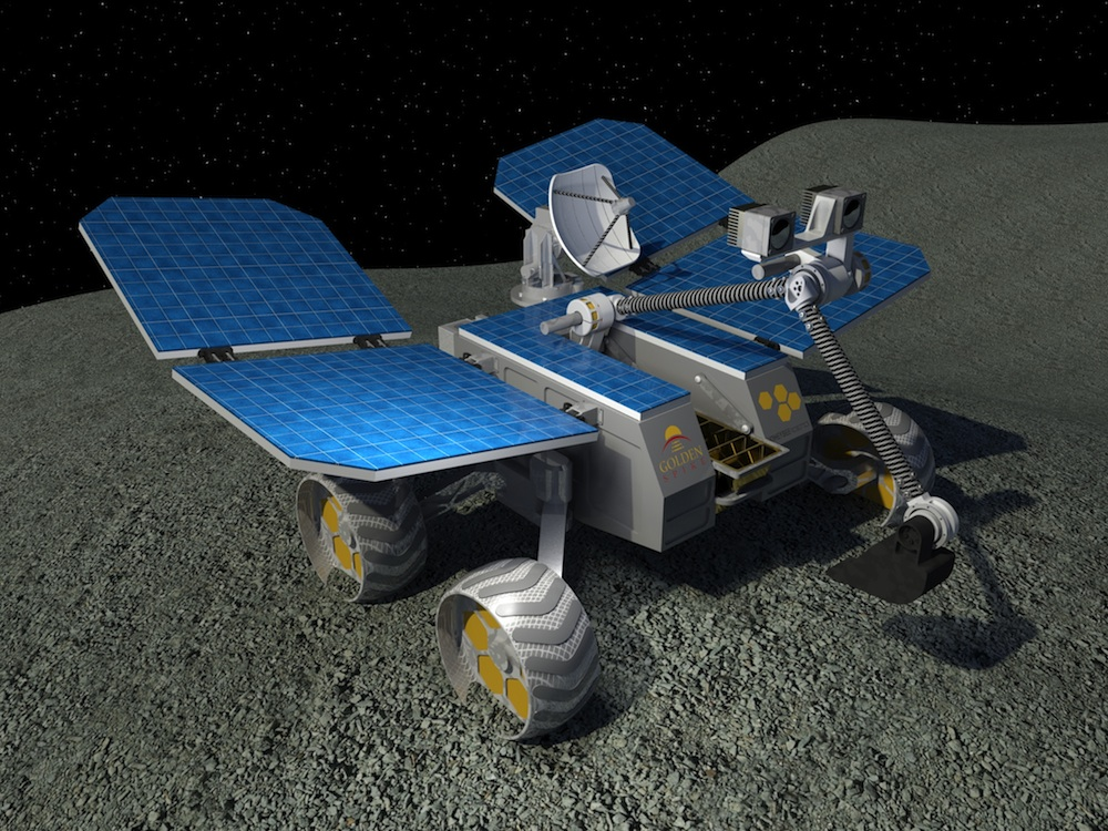 A rendering of the preliminary design for an unmanned lunar rover by Honeybee Robotics and Golden Spike. Image Credit: Honeybee Robotics