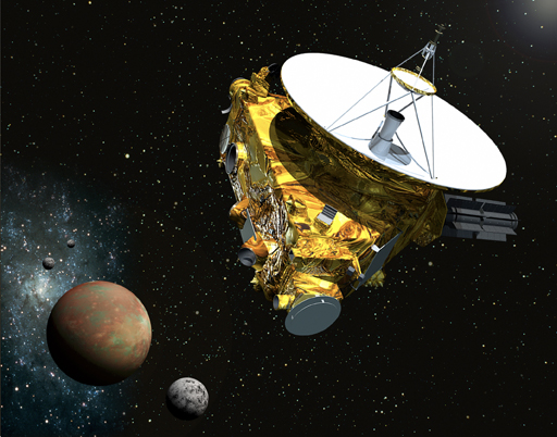 Artist's concept of the New Horizons spacecraft as it approaches Pluto and its three moons in summer 2015. Image Source: ohns Hopkins University Applied Physics Laboratory/Southwest Research Institute (JHUAPL/SwRI)
