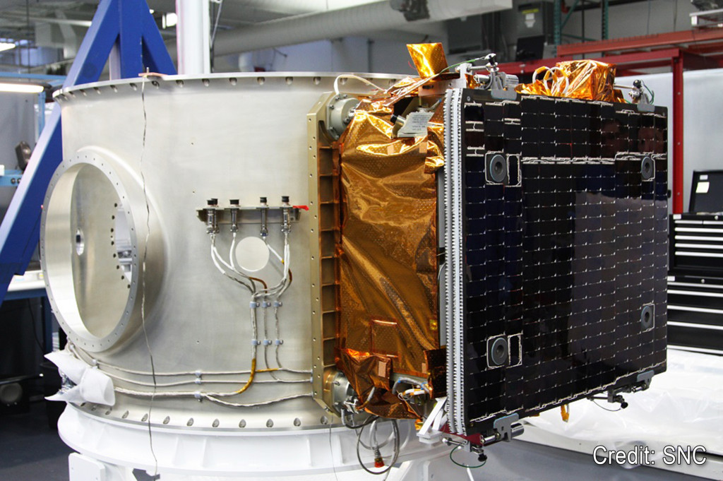 OG2 satellite shown stowed on the ESPA Grande deployment system at SNC's Louisville  facility. Image Source: Sierra Nevada Corp.