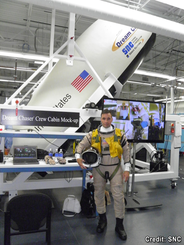 SNC former astronaut Lee Archambault prepares for Dream Chaser® Crew Systems Test. Image Source: Sierra Nevada Corp.