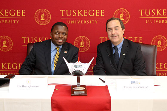 Dr. Johnson, President, Tuskegee University and Mark Sirangelo, Corp. VP, sign Letter of Cooperation. Image Source: Tuskegee University.