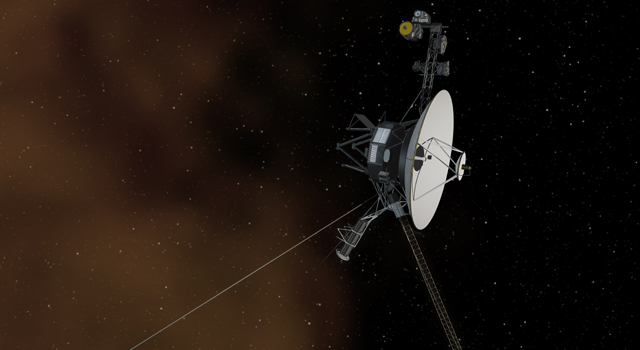 The Space Between: This artist's concept shows the Voyager 1 spacecraft entering the space between stars. Interstellar space is dominated by plasma, ionized gas (illustrated here as brownish haze), that was thrown off by giant stars millions of years ago. Image credit: NASA/JPL-Caltech