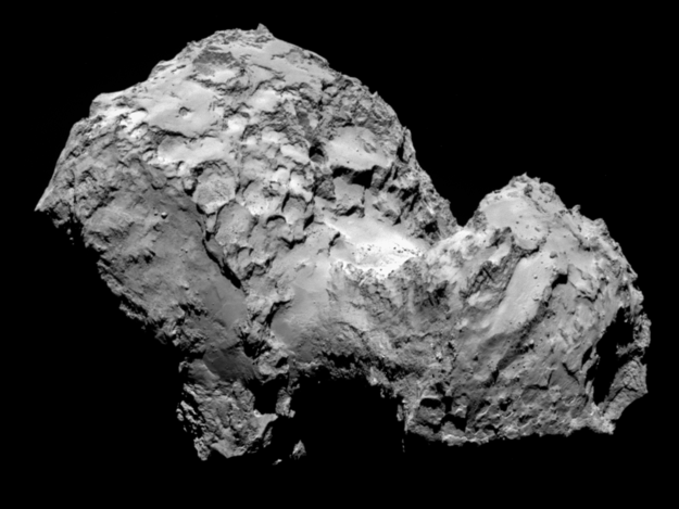 Comet 67P/Churyumov–Gerasimenko on August 3, 2014. Images of the comet show a range of features including boulders, craters and steep cliffs. Image Credit: ESA