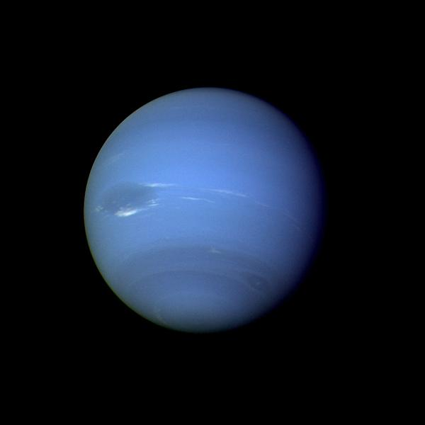 During August 16 and 17, 1989, the Voyager 2 narrow-angle camera was used to photograph Neptune almost continuously, recording approximately two and one-half rotations of the planet. Image credit: NASA/JPL