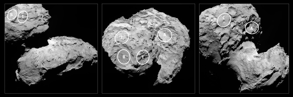 Philae candidate landing sites. Image Source: ESA/Rosetta/MPS for OSIRIS Team MPS/UPD/LAM/IAA/SSO/INTA/UPM/DASP/IDA
