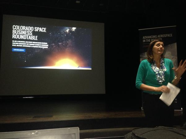 At Canon City High School where Stacey DeFore talks to students  about opportunity in the Colorado aerospace industry. Image Credit: Colorado Space Business Roundtable