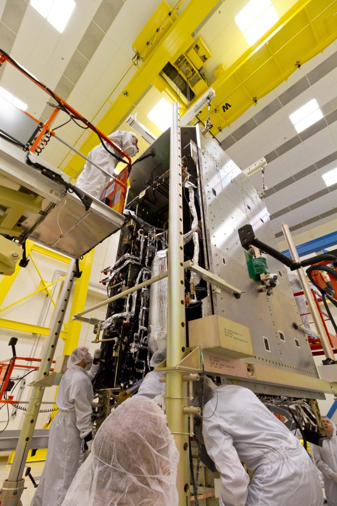 Lockheed Martin successfully mated together the large system and propulsion modules of the first GOES-R series weather satellite at the company's Space Systems facilities near Denver, Colorado. Image Credit: Lockheed Martin