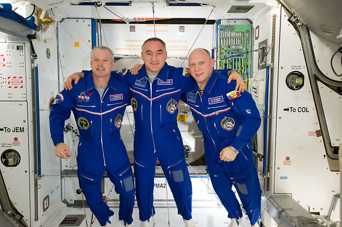 Colorado astronaut Steve Swanson, Expedition 40 commander, along with cosmonauts Alexander Skvortsov and Oleg Artemyev, both flight engineers with the Russian Federal Space Agency, return to Earth Sept. 10 after six month aboard the International Space Station. Image Credit: NASA