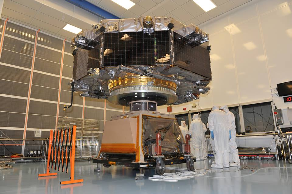 The Magnetospheric Multiscale (MMS) Observatory #4 underwent spin testing at the NASA Goddard Space Flight Center in Greenbelt, Maryland. Image Credit: NASA