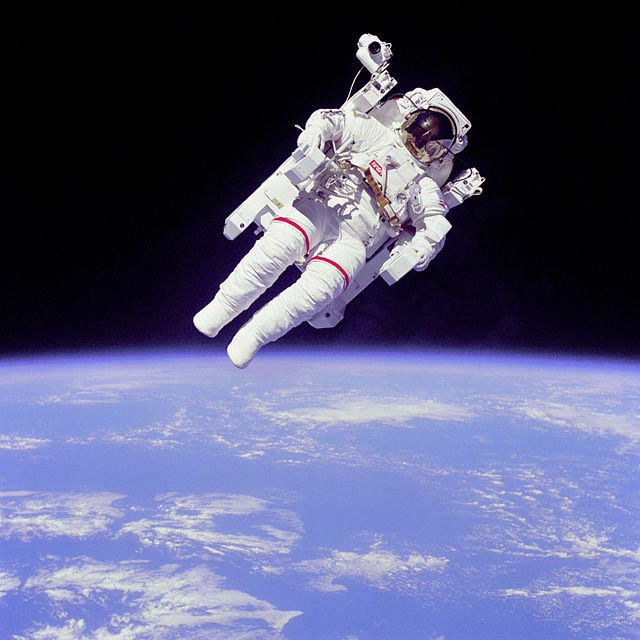 Astronaut Bruce McCandless free-floating in space during Challenger space shuttle mission, 1984. Image Credit: NASA