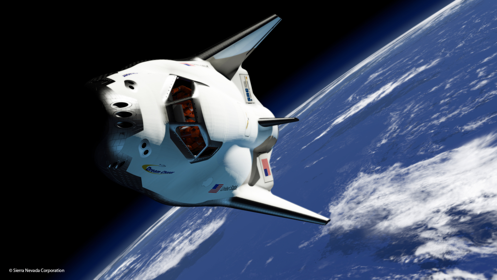 An artistic rendering of SNC's Dream Chaser in Orbit. Image Credit: Sierra Nevada Corp.