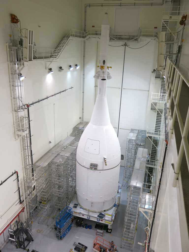 NASA's Orion spacecraft was completed Thursday, Oct. 30, 2014 in the Launch Abort System Facility at NASA's Kennedy Space Center in Florida. It will reside there until Nov. 10, when it will be rolled out to Launch Complex 37 at Cape Canaveral Air Force Station ahead of its Dec. 4 test flight. Image Credit: Lockheed Martin
