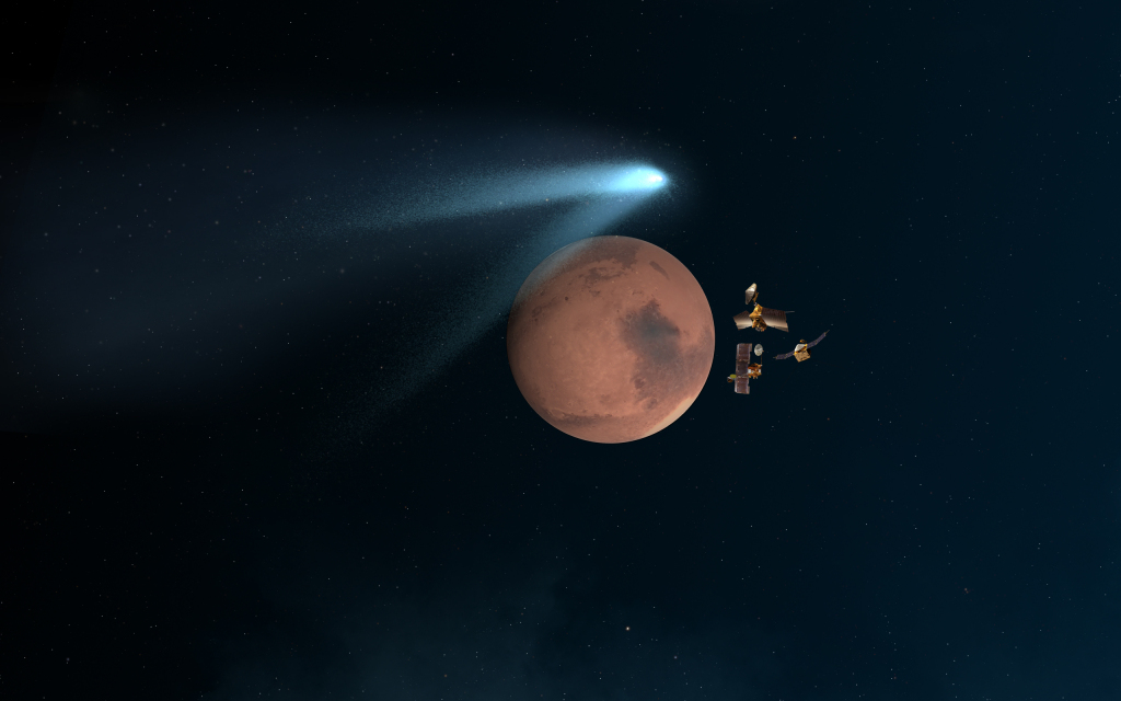 "This artist's concept shows NASA's Mars orbiters lining up behind the Red Planet for their ""duck and cover"" maneuver to shield them from comet dust that may result from the close flyby of comet Siding Spring (C/2013 A1) on Oct. 19, 2014. Image Credit: NASA/JPL-Caltech"