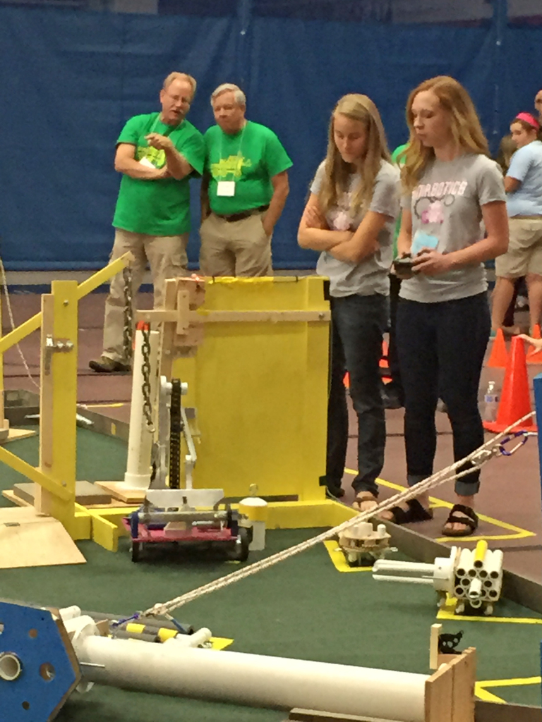Drivers,Morgan and Abby, driving the robot during one of the competition's three minute rounds. Image Credit: Morgan Wagner