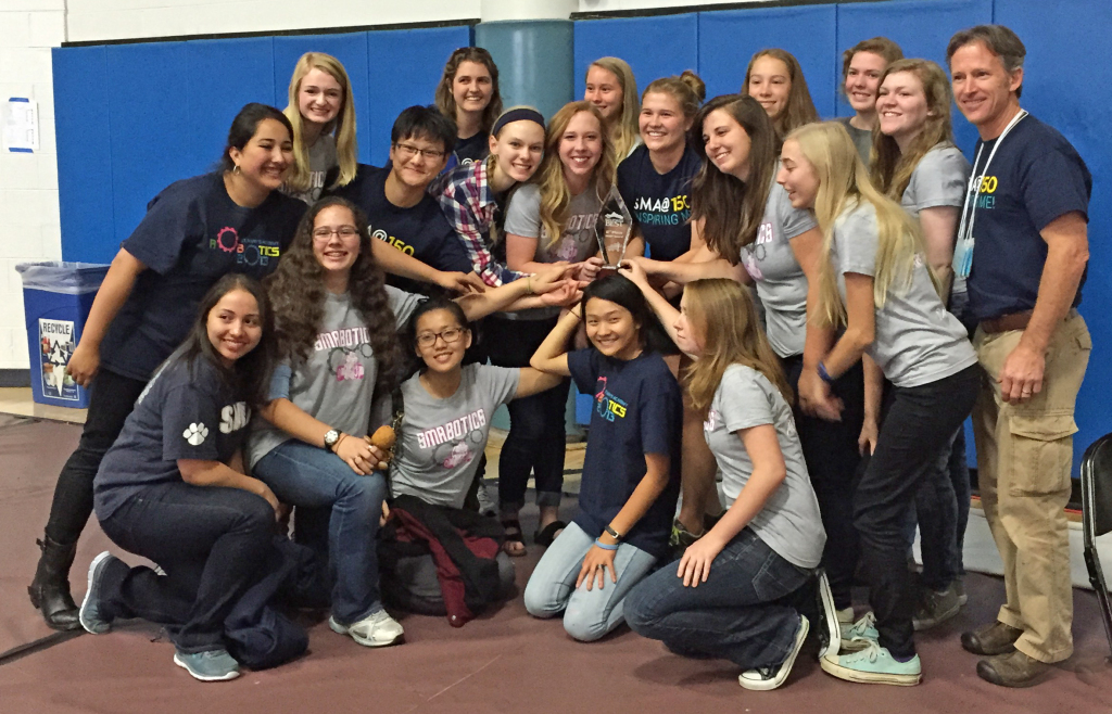 The St. Mary's Academy all-girls robotics team poses for a team picture after after winning the 2nd place BEST award. Image Credit: Morgan Wagner