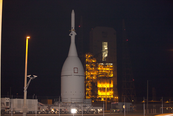 Orion spacecraft arrived at Space Launch Complex 37 at Cape Canaveral Air Force Station to complete its 22 mile move from the agency's Kennedy Space Center in Florida. Image Credit: NASA/Kim Shiflett