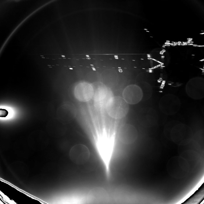 Rosetta's lander Philae took this parting shot of its mothership shortly after separation. Image Credit: ESA/Rosetta/Philae/CIVA