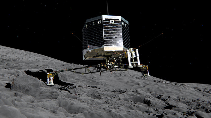 Still image from animation of Philae separating from Rosetta and descending to the surface of comet 67P/Churyumov-Gerasimenko in November 2014. Image Credit: ESA/ATG medialab