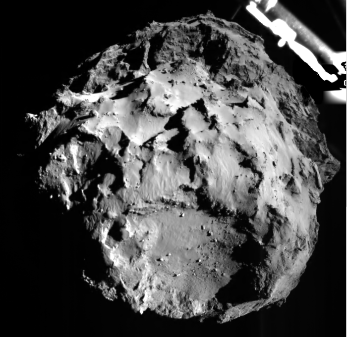 The image shows comet 67P/CG acquired by the ROLIS instrument on the Philae lander during descent on Nov 12, 2014 14:38:41 UT from a distance of approximately 3 km from the surface. The landing site is imaged with a resolution of about 3m per pixel. Image Credit: ESA/Rosetta/Philae/ROLIS/DLR