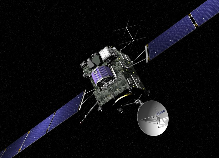 Artist's impression of ESA's Rosetta cometary probe. The spacecraft is covered with dark thermal insulation in order to keep it warm while venturing into the coldness of the outer Solar System, beyond Mars orbit. Image Credit: ESA/ J. Huart